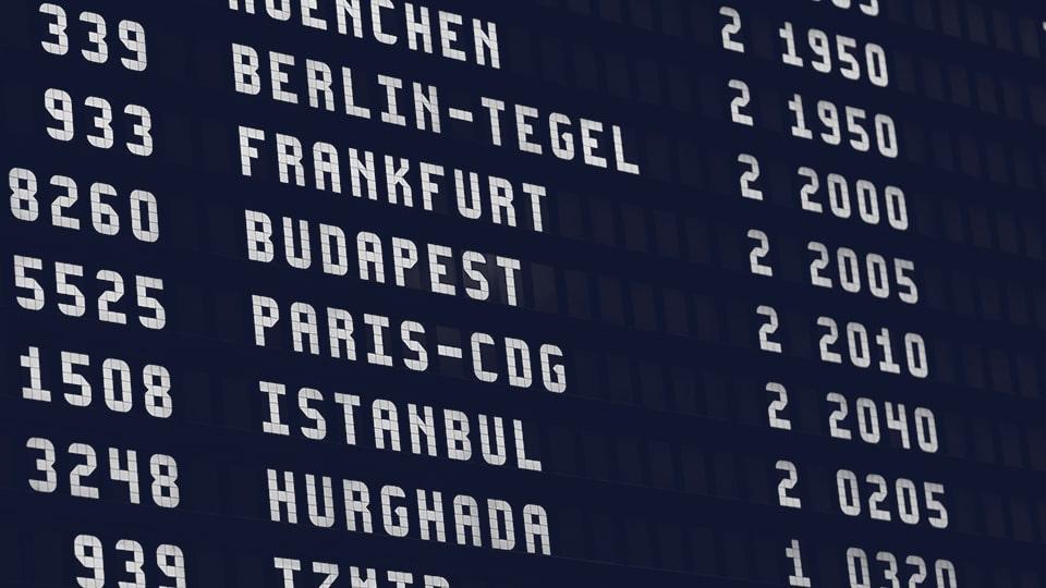 panel de información de un aeropuerto. Traducciones para clientes de todo el mundo. cipsl.com